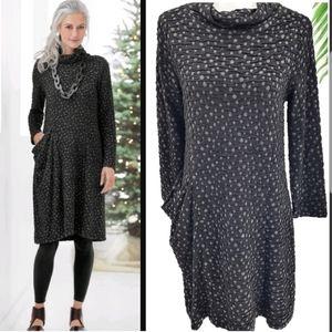Lisa Bayne Gabrielle Dress M Black Dot Lagenlook